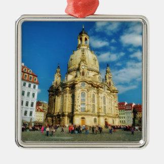 Dresden Frauenkirche Square Metal Christmas Ornament