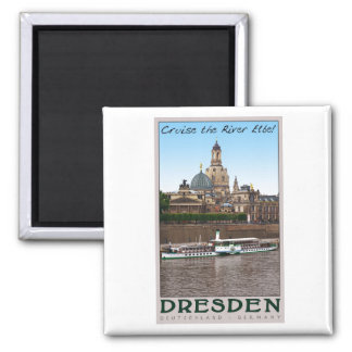 Dresden - On the Elbe 2 Inch Square Magnet