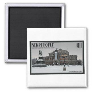 Dresden - Semperoper Winter 2 Inch Square Magnet
