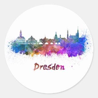 Dresden skyline in watercolor classic round sticker
