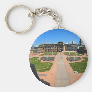Dresden, Zwinger wide angle view Basic Round Button Keychain