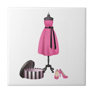 Dress and High Heels Art Small Square Tile
