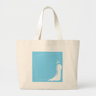 Dress: Bonny pregnant lady marriage in blue Large Tote Bag