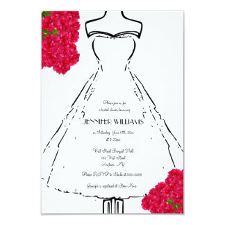 Dress Bouquet Bridal Shower Invitations