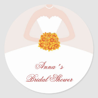 Dress Bridal Shower Favor Labels Fall Classic Round Sticker
