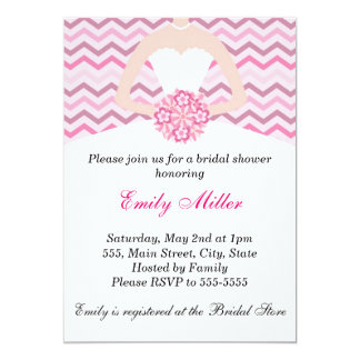 Dress Bridal Shower Invitation Chevron Pink Purple