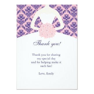 Dress Damask Thank You Card Pink Navy Blue