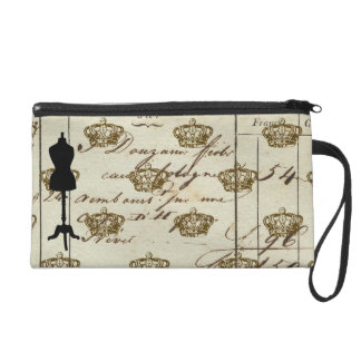 Dress Form Silhouette Antique French Writing Colla Wristlet