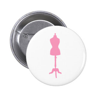 Dress Form Silhouette II - Pink 2 Inch Round Button