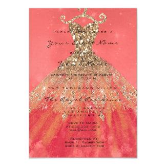 Dress Glitter Bridal 16th Watercolor Coral Gold Card