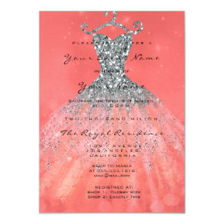 Dress Glitter Bridal 16th Watercolor Coral Silver Card