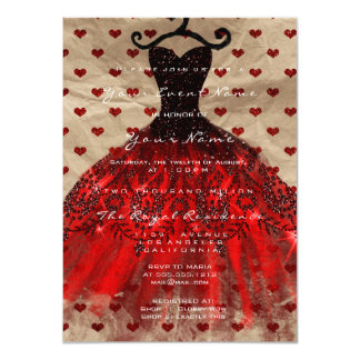 Dress Glitter Burgundy Bridal Hearts 16t Red Kraft Card