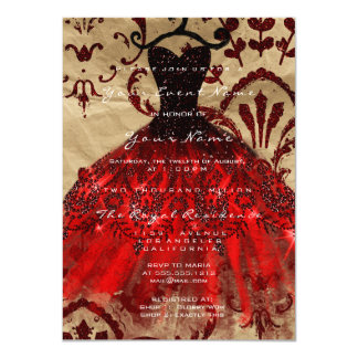 Dress Glitter Burgundy Bridal Violet Red Kraft Card