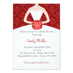 Dress Invitation Bridal Shower Red Damask at Zazzle