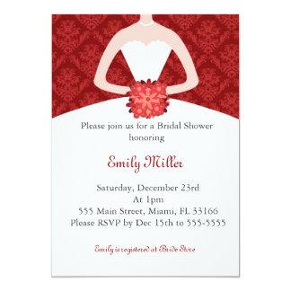 Dress Invitation Bridal Shower Red Damask