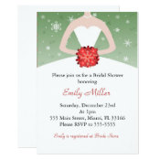 Dress Invitation Winter Red Green Bridal Shower