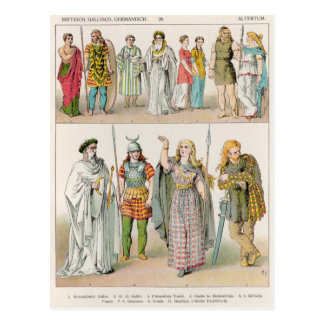 Dress of the Britons, Gauls and Germans Postcard