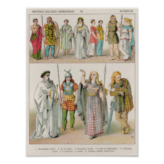 Dress of the Britons, Gauls and Germans Print