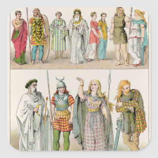 Dress of the Britons, Gauls and Germans Square Sticker