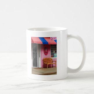 Dress Shop With Orange and Blue Awning Mugs