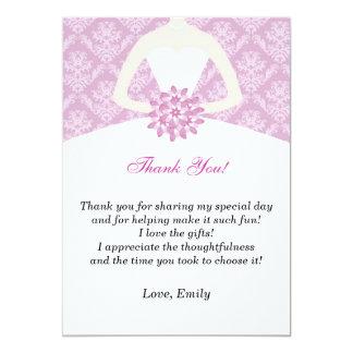 Dress Thank You Card Bridal Shower Lilac Damask