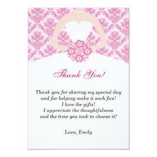 Dress Thank You Card Pink Polka Dots
