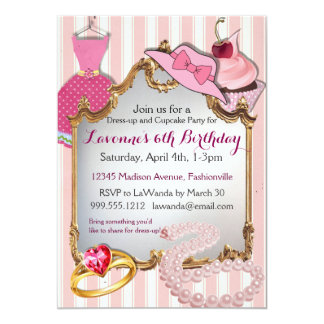 Dress-up and Cupcake Party Girls' Birthday Invites