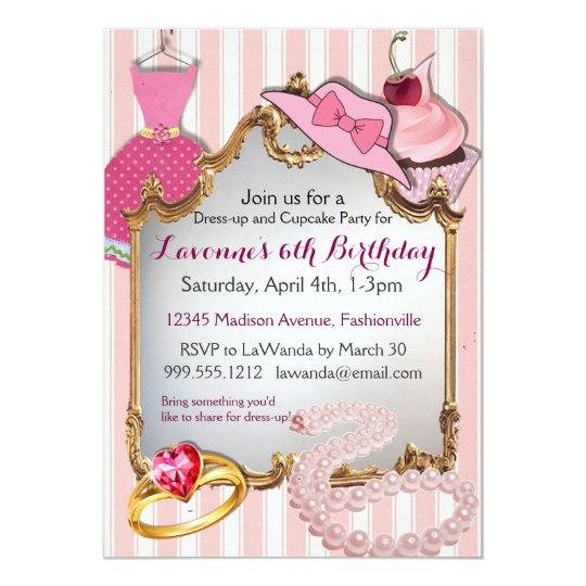 Dress Up And Cupcake Party Girls Birthday Invites Zazzle Com
