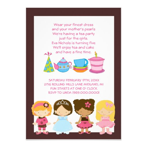"Dress-Up Birthday Or Tea Party Invitations 5"" X 7"