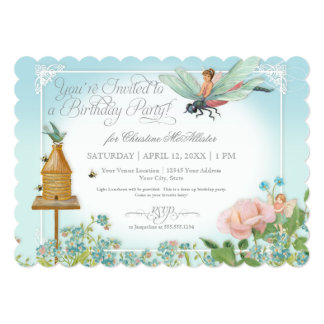 Dress Up Birthday Party Garden Fairy Bee Dragonfly 5x7 Paper Invitation Card