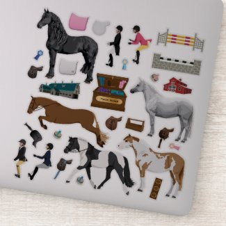 Dress Up Horses & Ponies With Saddles & Riders Sticker