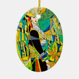 Dress Up Ping Hao oriental abstract painting art Ceramic Ornament