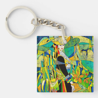 Dress Up Ping Hao oriental abstract painting art Keychain