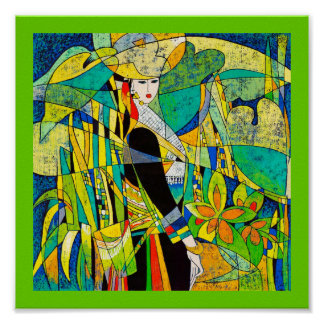 Dress Up Ping Hao oriental abstract painting art Poster