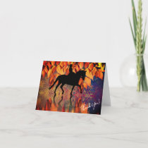 Dressage Autumn Leaves Thank You Card