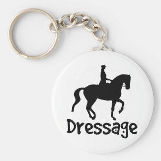 Dressage fresco del texto con el caballo de Piaffe Llavero Redondo Tipo Pin