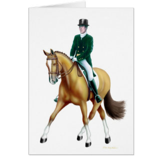 Dressage Half Pass Bay Horse Card