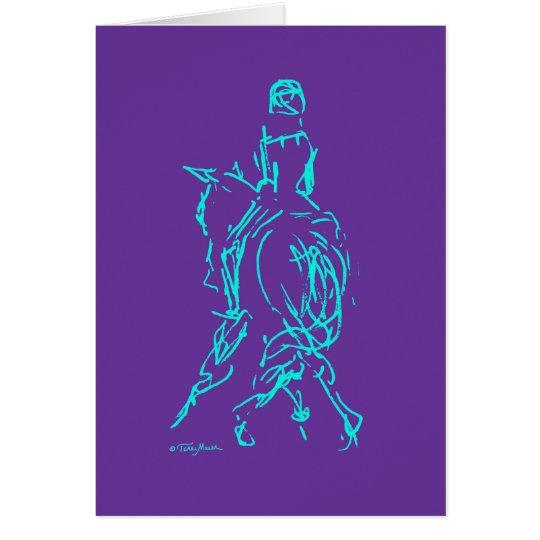 Dressage: Half Pass Card Aqua/Purple