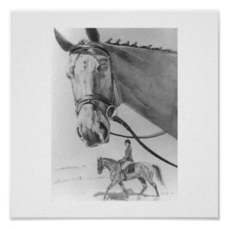 Dressage horse and rider, graphite poster