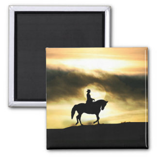Dressage Horse and Rider in the Sunset Magnet