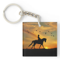 Dressage Horse and Rider Key Chain