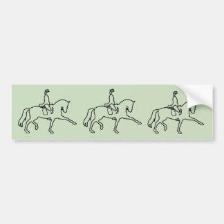 DRESSAGE HORSE AND RIDER - LINE ART DESIGN CAR BUMPER STICKER