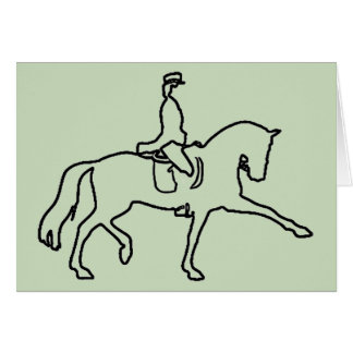 DRESSAGE HORSE AND RIDER - LINE ART DESIGN GREETING CARDS