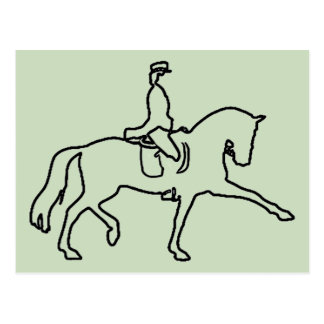 DRESSAGE HORSE AND RIDER - LINE ART DESIGN POSTCARD
