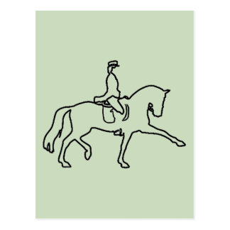 DRESSAGE HORSE AND RIDER - LINE ART DESIGN POST CARD