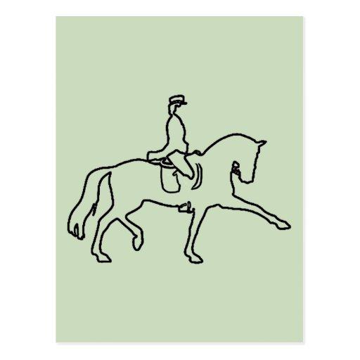 DRESSAGE HORSE AND RIDER - LINE ART DESIGN POSTCARD