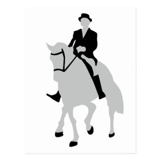 dressage horse and rider postcard