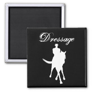 Dressage Horse And Rider Silhouette 2 Inch Square Magnet