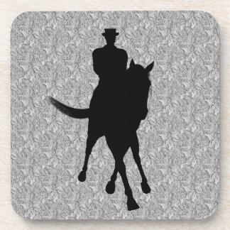 Dressage Horse And Rider Silhouette Coaster Set
