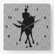 Dressage Horse And Rider Silhouette Square Wall Clock